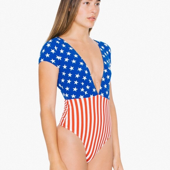 American Apparel Tops - AMERICAN APPAREL Stars & Stripes Bodysuit